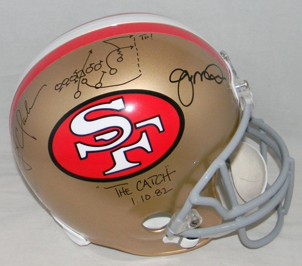 Amazon.com: Joe Montana Dwight Clark Signed Autographed San Francisco 49Ers  F/S Helmet Catch Play Drawn - Certified Certified: Sports Collectibles