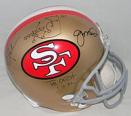 2fa8fd07d6c Joe Montana Dwight Clark Signed Autographed San Francisco 49Ers F S Helmet  Catch Play Drawn