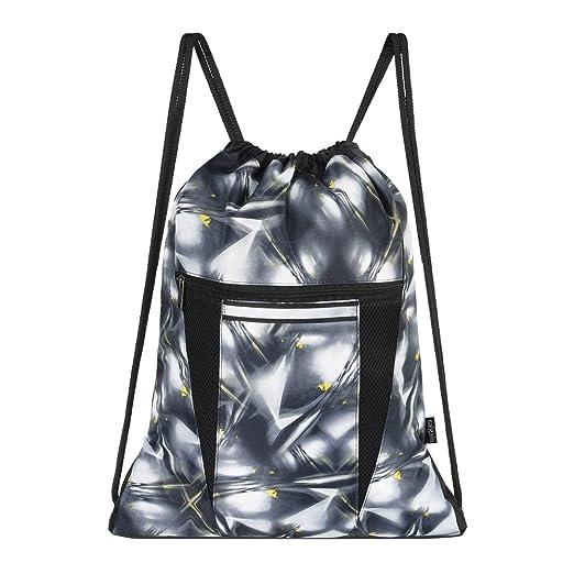 e80ff3b735d6 Saigain Sport Gym Sack Large Drawstring Backpack Bag Sackpack(MYSTIC GREY)