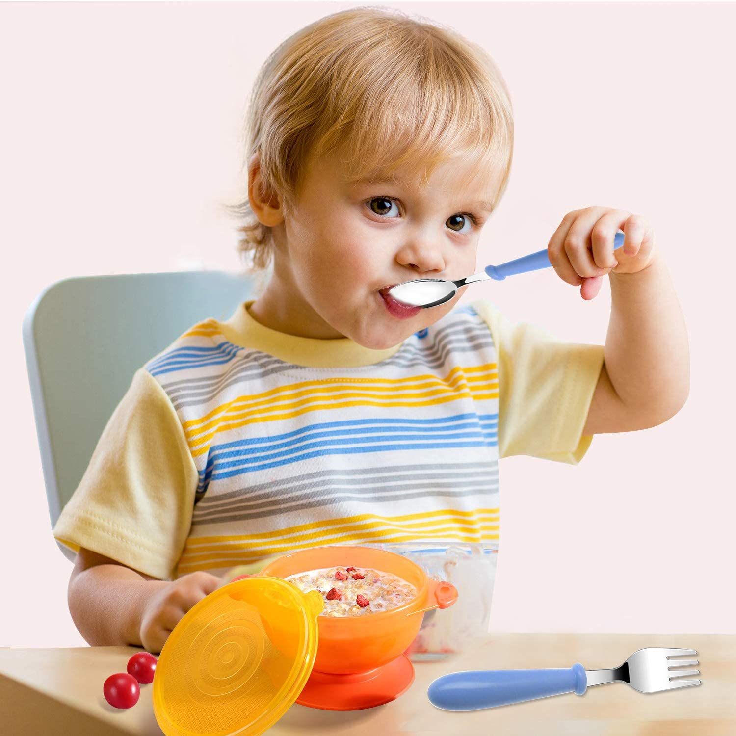 Baby Cutlery Spoon and Fork Set for Weaning and Learning to Use Cutlery Baby Fork and Spoon 3 Set Toddler Utensils Spoons Forks Tableware Set with Travel Case for Kids Self-Feeding