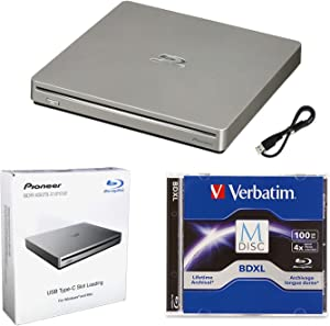 Pioneer BDR-XS07S Portable 6X Blu-ray Burner External Drive Bundle with 100GB M-DISC BDXL and USB Cable - Burns CD DVD BD DL BDXL Discs