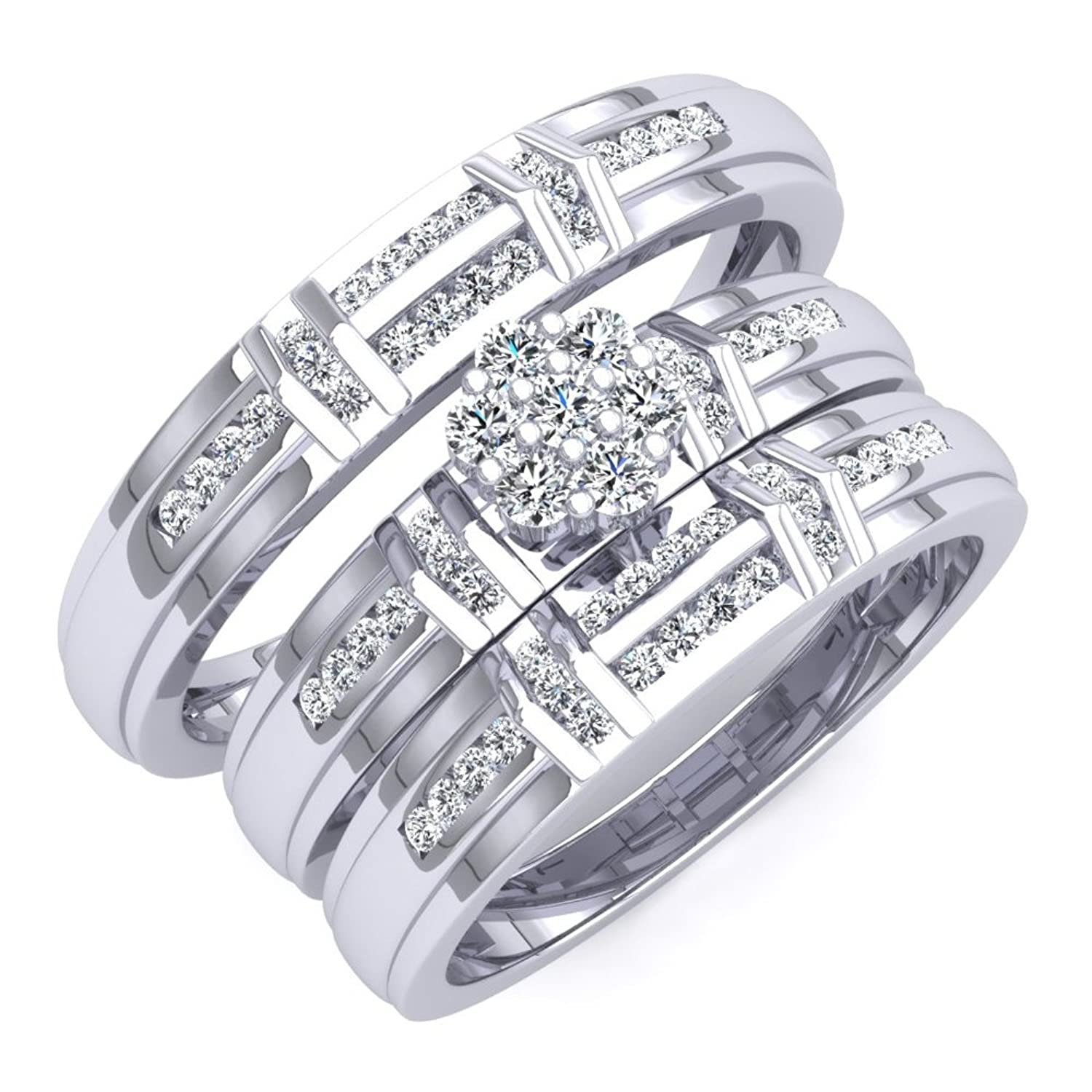0.50 Carat (ctw) 18K White Gold Round White Diamond Men & Women's Engagement Ring Bridal Set 1/2 CT