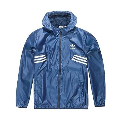 adidas Boys Windbreaker Jacket, Blue, Small