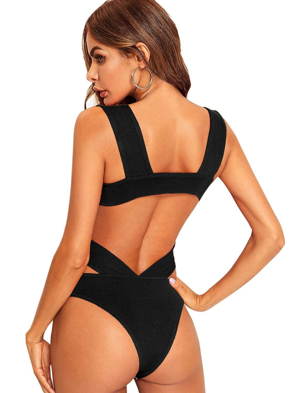Verdusa Womens Sleeveless Wide Strap Square Neck Backless Tank Bodysuit