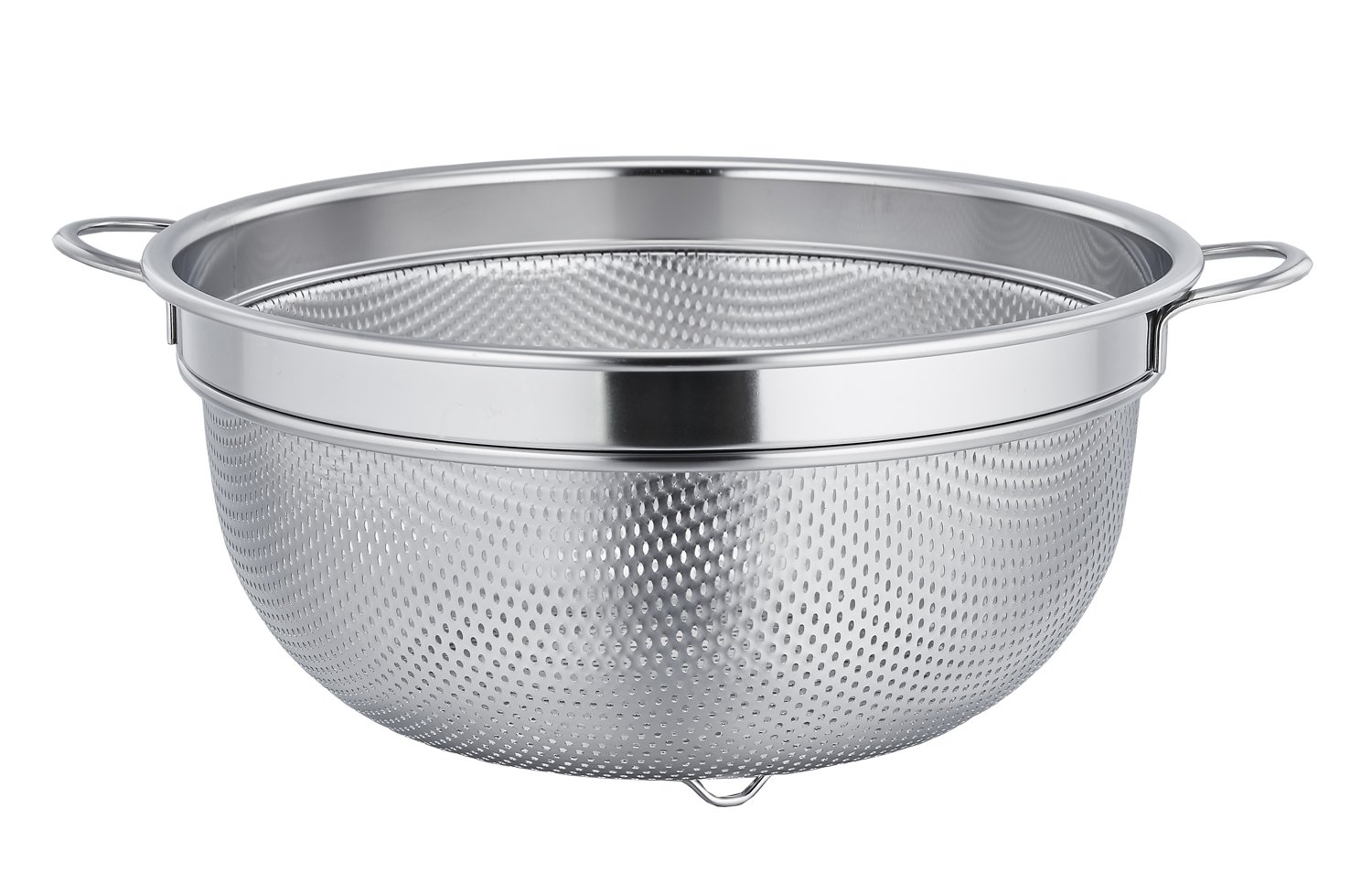TeamFar Stainless Steel Micro-perforated Compact Size Colander Food Strainer, Solid Handles, Elevation Base & Mini Holes, Dishwasher Safe