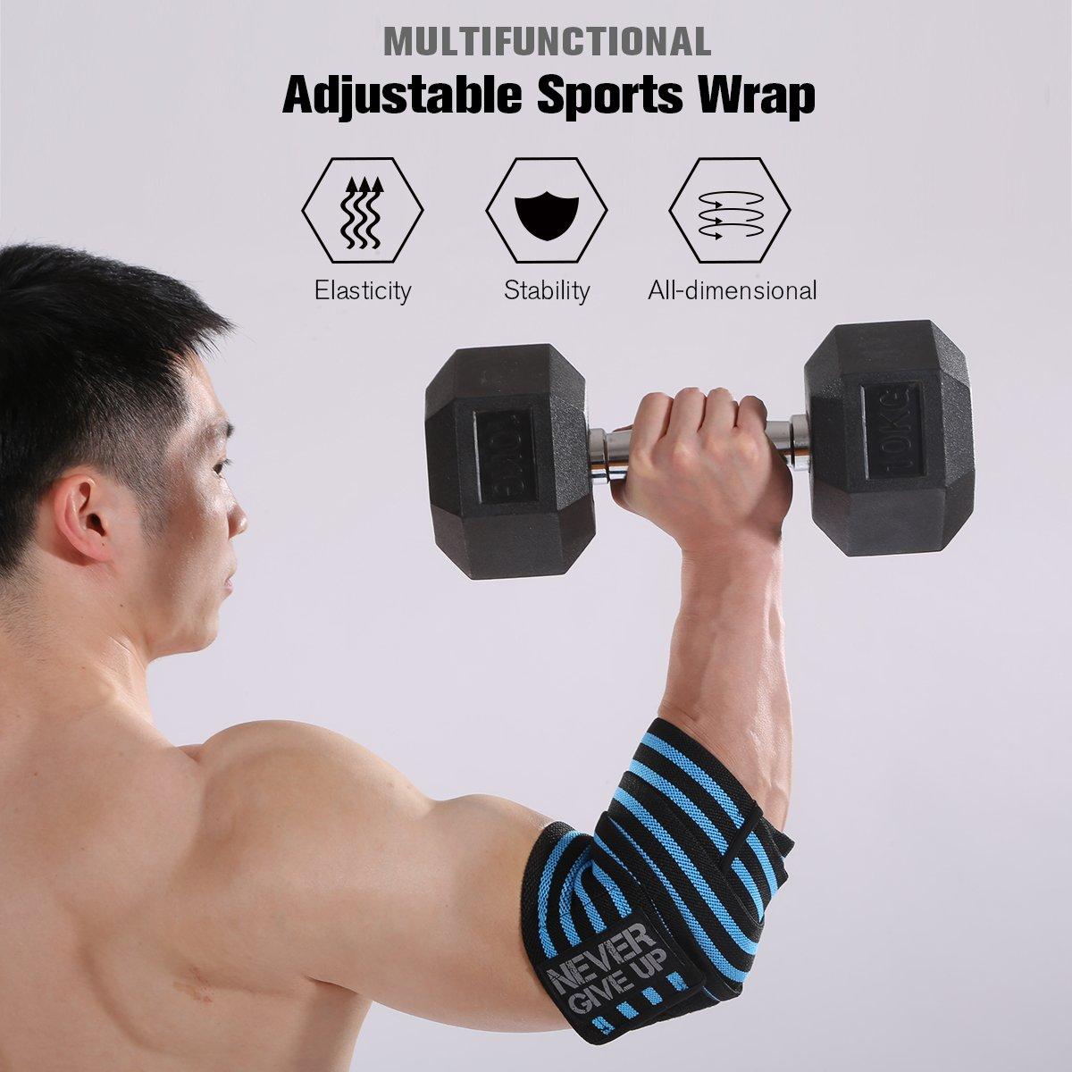 Codo Wraps bracego ajustable codo apoya tirantes vendaje estilo profesional anti-sprain transpirable de compresión 3 colores para levantamiento de ...