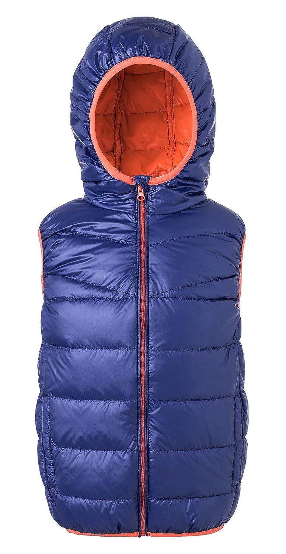 Ultra Leichte Daunenweste Jungen Mädchen, Packbar Im Freien Steppweste mit Kapuze, Wasserdicht ärmellose Jacke