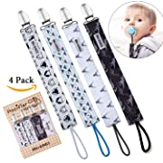 Ava & Kings 4 Pack Pacifier Clip Teething Ring Holder Straps to Sooth Baby Infants and Toddlers - Mixed Designs for Boys or Girls - Soft Materials & Gripping Clamps - Set 1: Bold in Blue