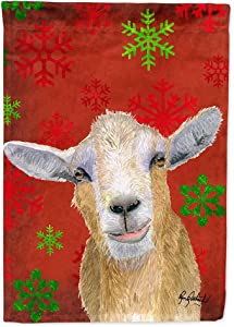 Caroline's Treasures RDR3024GF Red Snowflakes Goat Christmas Flag Garden Size, Small, Multicolor