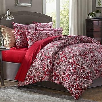linge de lit motif cachemire Fadfay Parure de lit de Cachemire Rouge Marque 100% coton satiné  linge de lit motif cachemire