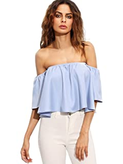 87f2eb97f742 zdzdy Women Short Sleeve Off Shoulder Blouse Casual Pleated Ruffle ...