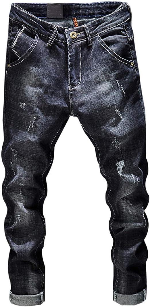 デニムバイカージーンズ男性スリムフィットウォッシュヴィンテージ破れたジーンズ用男性弾性デニムパンツスキニージーンズ男性