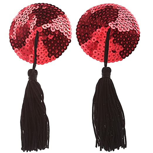 5187d1f0f Ayliss Sequin Lingerie Tassel Breast Bra Stickers Nipple Covers-Red at  Amazon Women s Clothing store