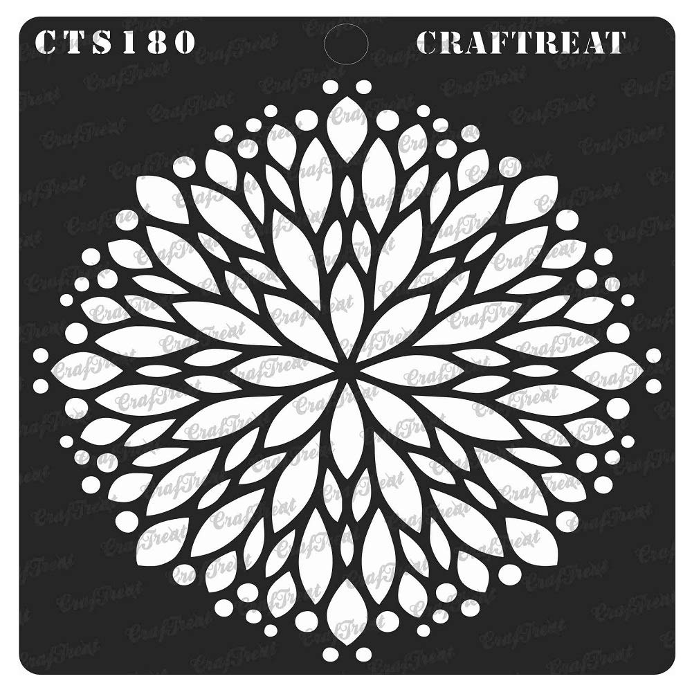 Tile Fabric Daisy with Leaf Background DIY Albums Home Decor Floor Wall Scrapbook and Printing on Paper Wood 6X6 CrafTreat Stencil Reusable Painting Template for Notebook Crafting