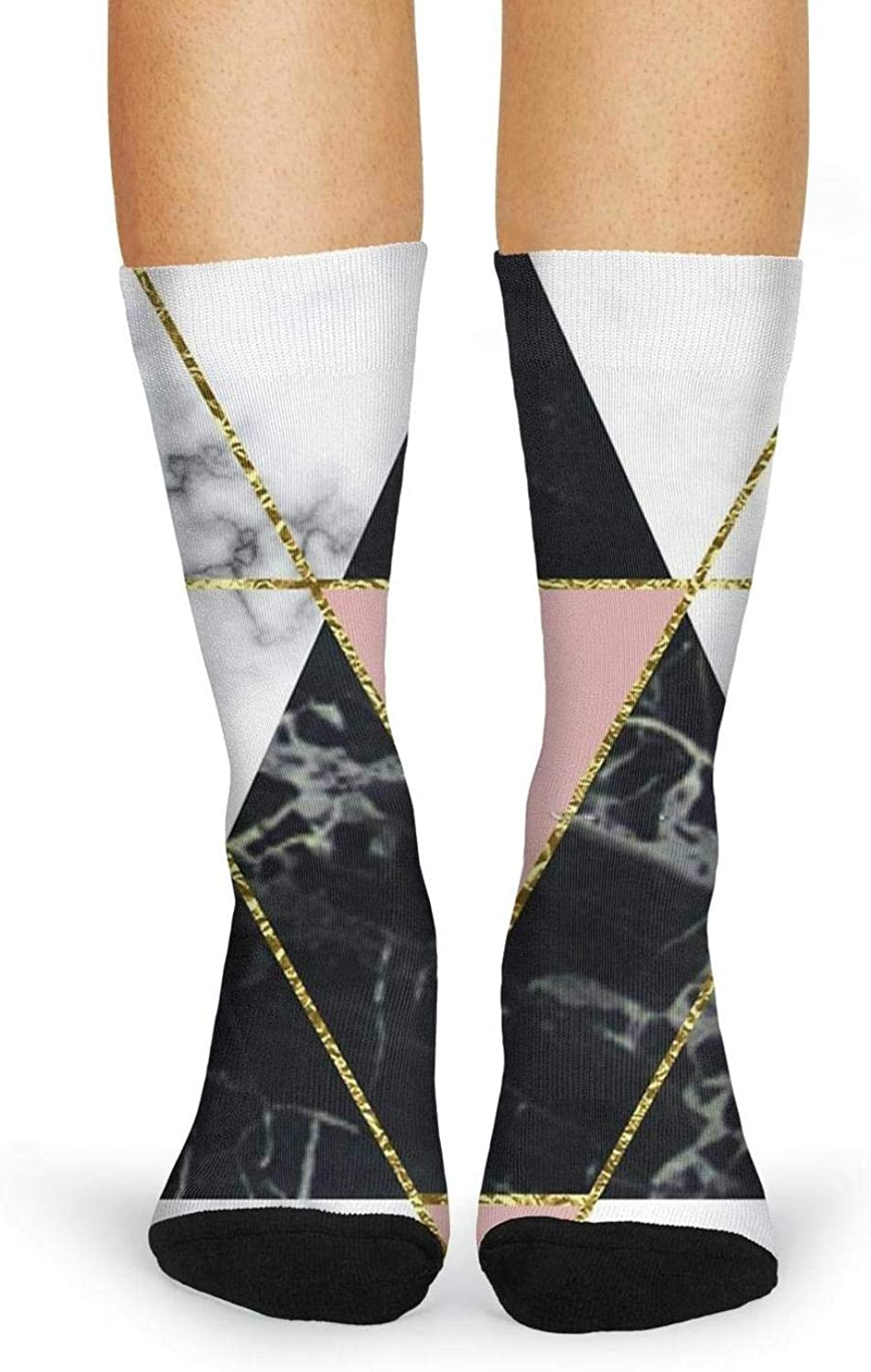 XIdan-die Womens Over-the-Calf Tube Socks Triangle Marble Moisture Wicking Casual Socks