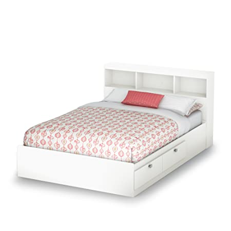 South Shore Spark Full Storage Bed And Bookcase Headboard Pure