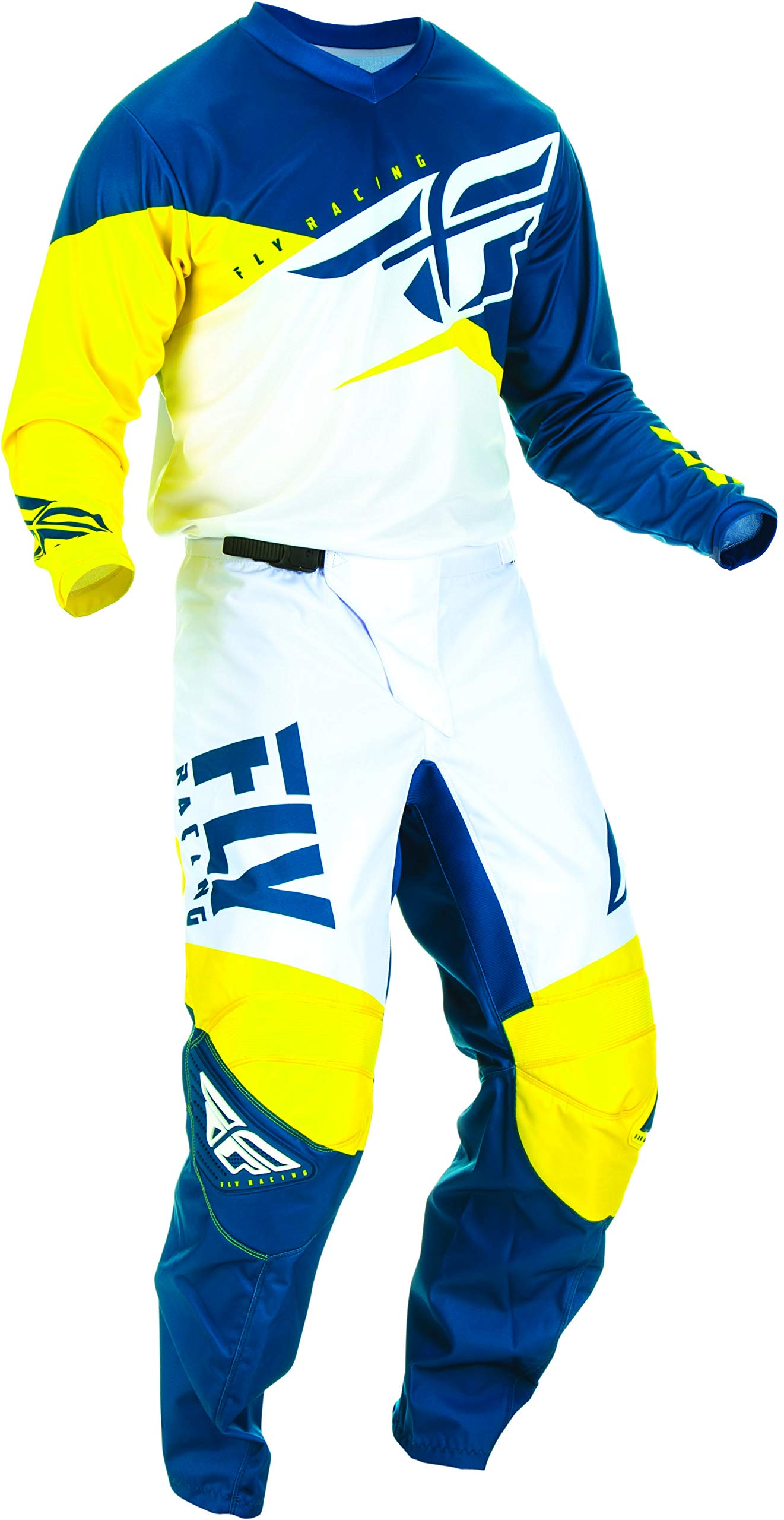 Fly Racing - 2019 F-16 (Mens Yellow & White & Navy X-Large/36W) MX Riding Gear Combo Set, Motocross Off-Road Dirt Bike Light Weight Durable Jersey & Mesh Comfort Liner Stretch Pre Shaped Knees Pant
