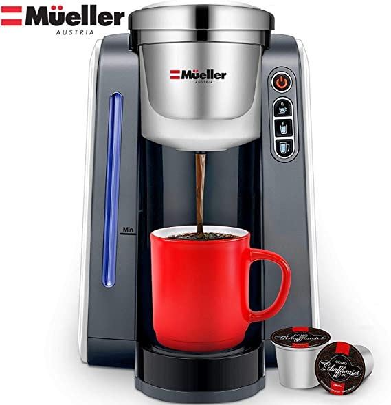 Mueller Ultima Single Serve Pod Compatible Coffee Maker Machine With 4 Brew Sizes for 1.0 and 2.0 Pods. Rapid Brew Technology with Large Removable 48 ...