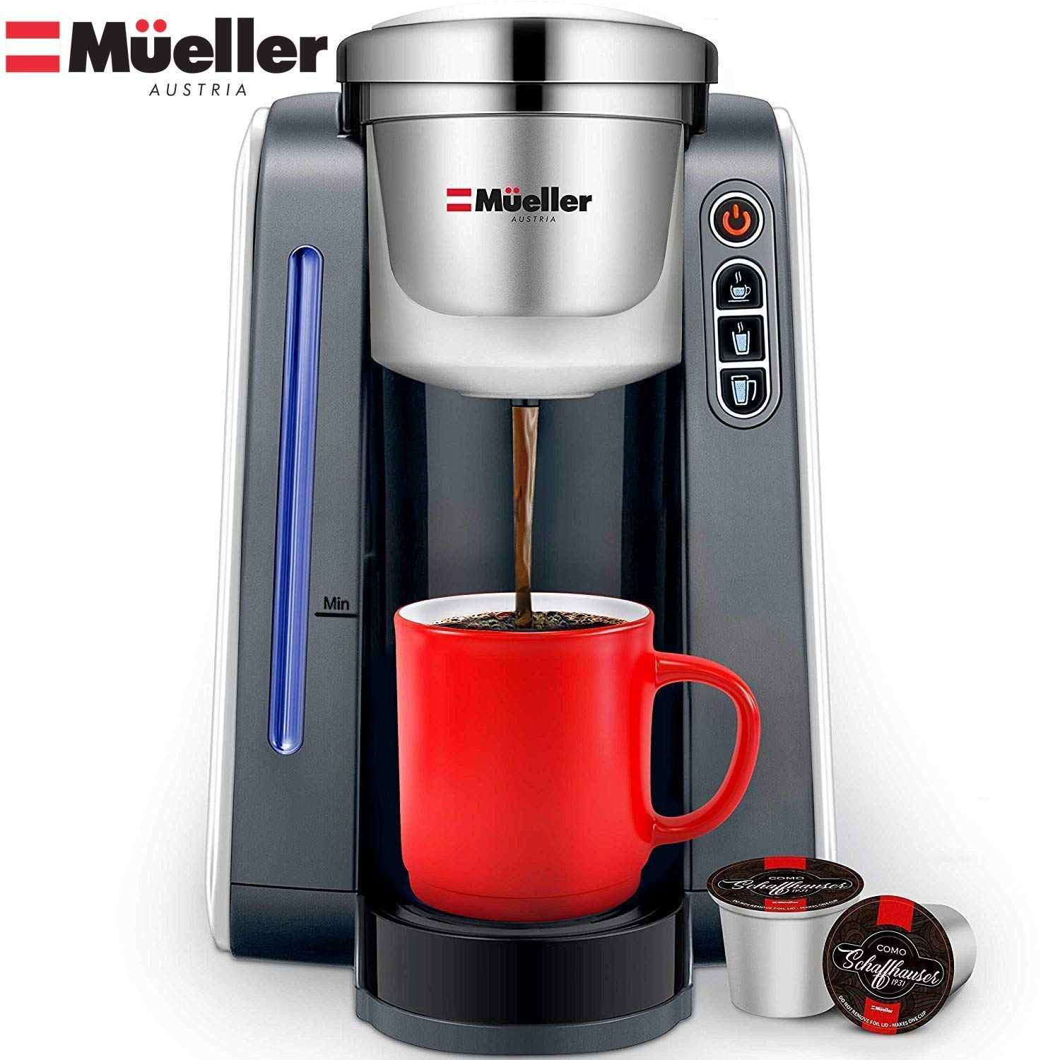 Mueller Ultima Single Serve Pod Compatible Coffee Maker Machine With 4 Brew Sizes for 1.0 and 2.0 Pods. Rapid Brew Technology with Large Removable 48 oz Water Tank by Mueller Austria