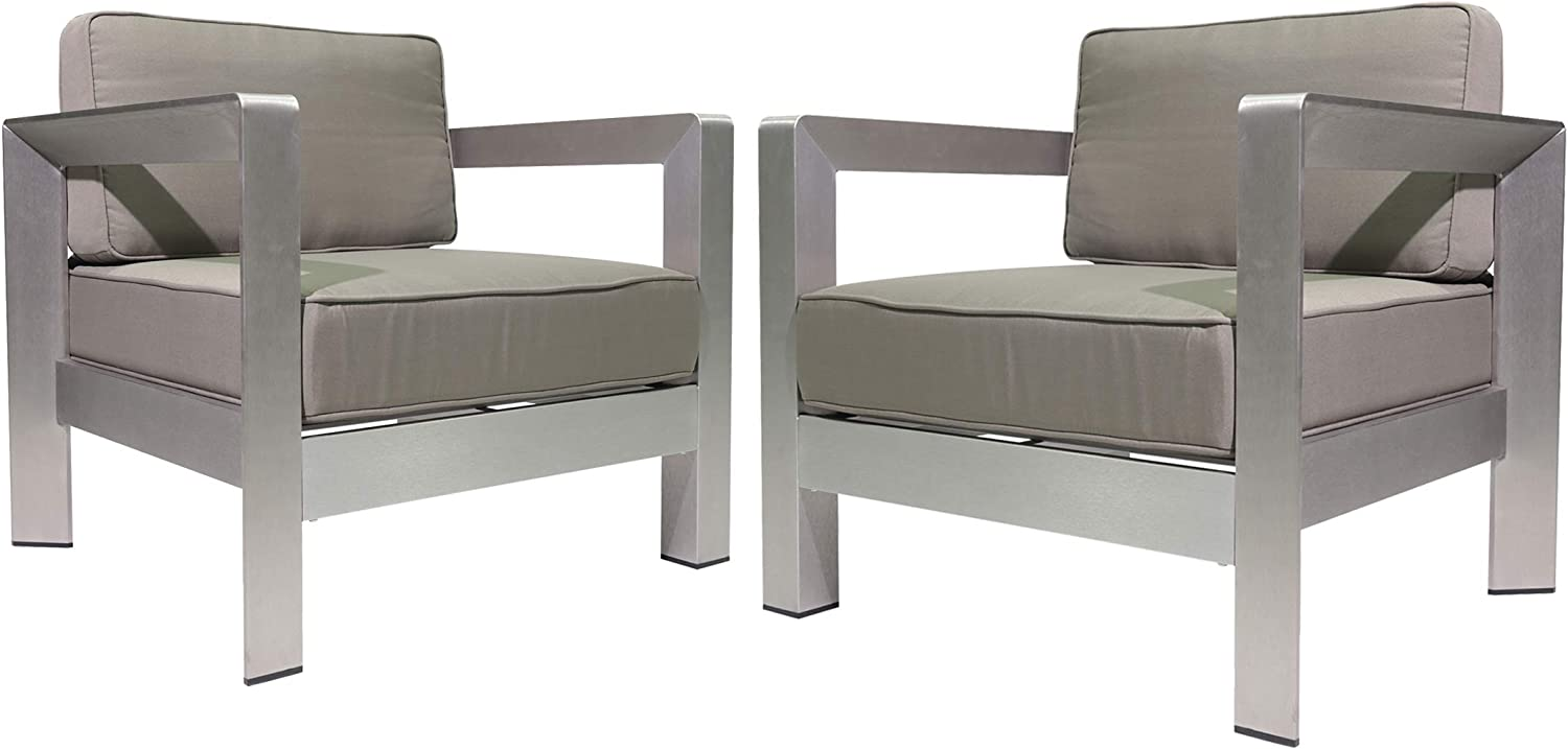 Christopher Knight Home 306460 Booth Outdoor Aluminum Club Chairs, Silver (Set of 2), Sliver/Khaki
