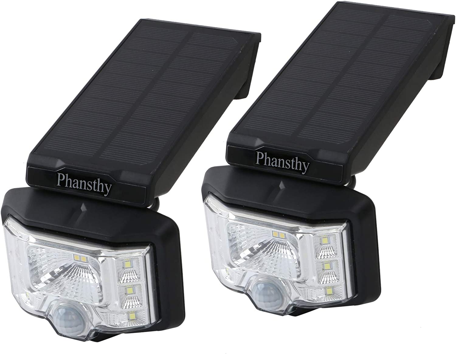 Phansthy Solar Light Outdoor 8 LED Wireless Wide Angle Motion Sensor Security Light with IP65 Grade Waterproof for Front Door Yard Garage Deck Porch Shed Walkway