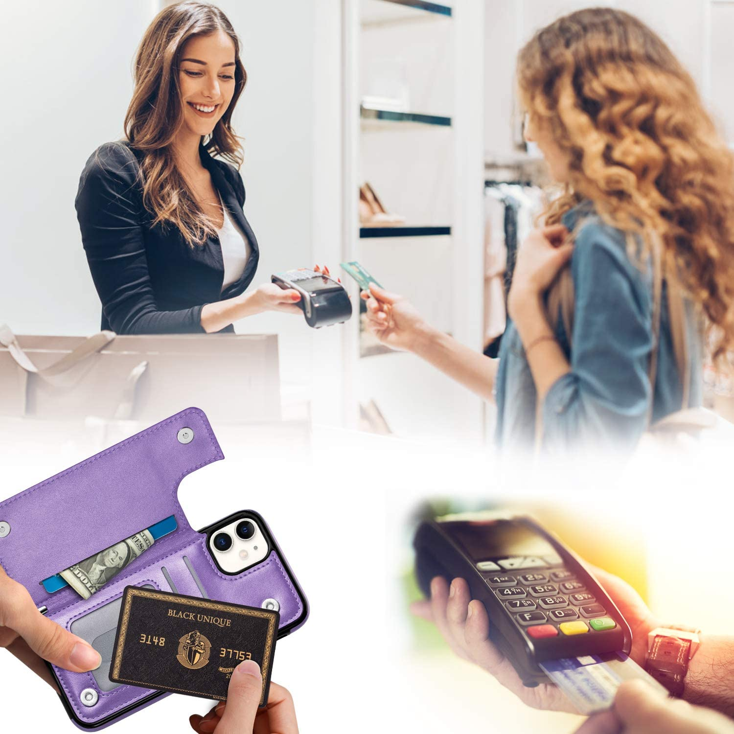 Purple Aoksow iPhone 11 Wallet Case Soft PU Leather Case with Card Holder Kickstand Shockproof Slim Protective Flip Cover for iPhone 11 6.1 Inch