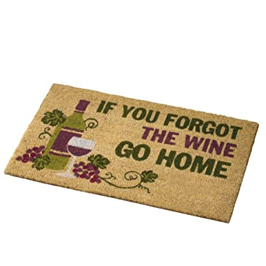 Collections Etc Wine Lovers Forgot The Wine Coco Door Mat, Brown