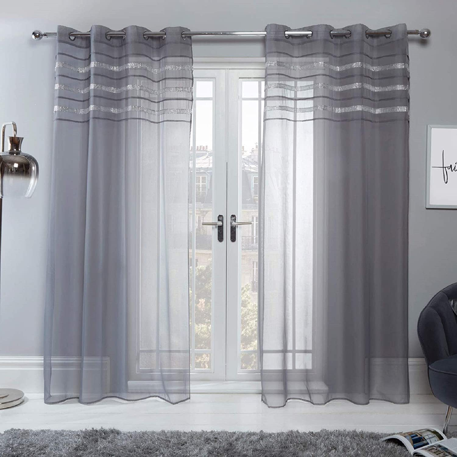 """Sienna Latina Pair of 2 x Diamante Glitzy Voile Net Curtains Eyelet Ring Top Window Panels, Charcoal Grey - 55"""" wide x 87"""" drop 55"""" wide x 87"""" drop Charcoal Grey"""
