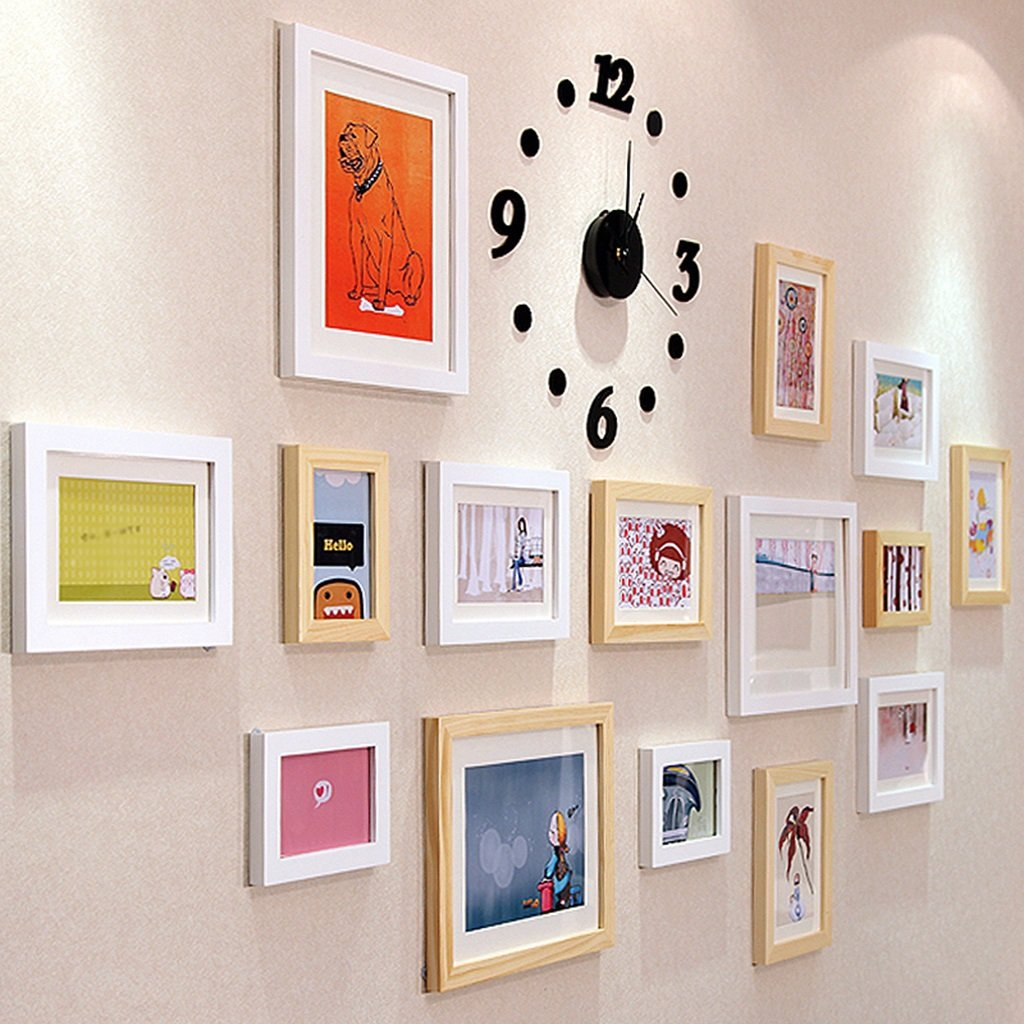 GYP 写真の壁のティムの色の絵画リビングルームの写真の壁の壁のフレームの壁時計創造的な人格の組み合わせのフレームの壁無垢材の材質ブランド環境絵画優れたテクスチャ ( 色 : C )   B077NZJZYB
