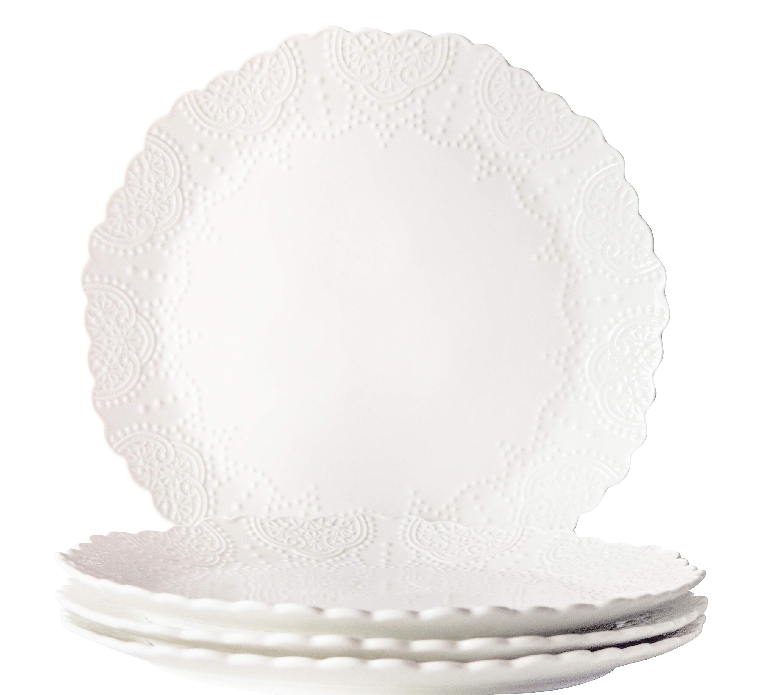 Dinner Plates Set of 4, Accent Serving Plates 10.2 Inch, Scalloped Embossed Porcelain Bone China, White