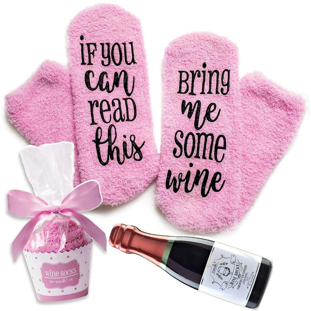 Wine Socks with Cupcake Package Christmas Birthday Gifts with If You Can Read This Socks Bring Me Some Wine Phrase - Funny Accessory for Her, Present for Wife, Gifts for Women Under 10 Dollars (Pink)