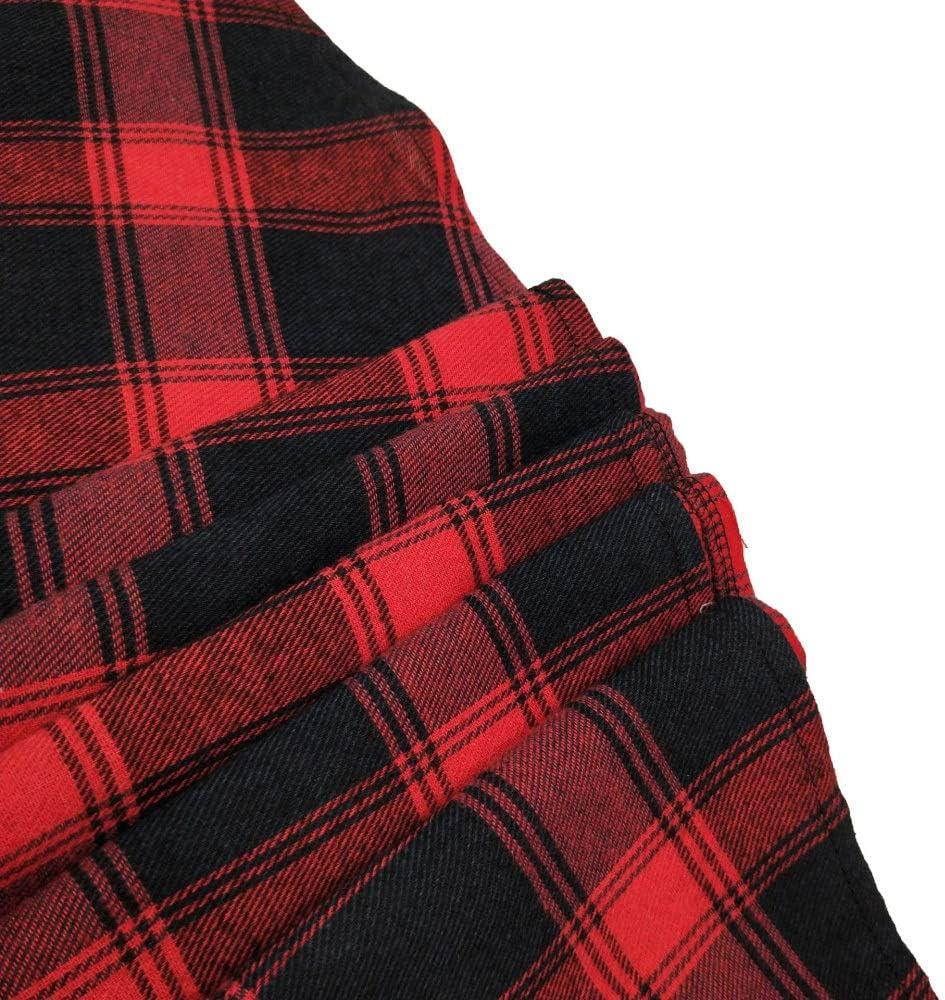 HZD Abiti da Donna a Collo Alto con Scollo a Cuore e Stampa Vintage a Quadri Red