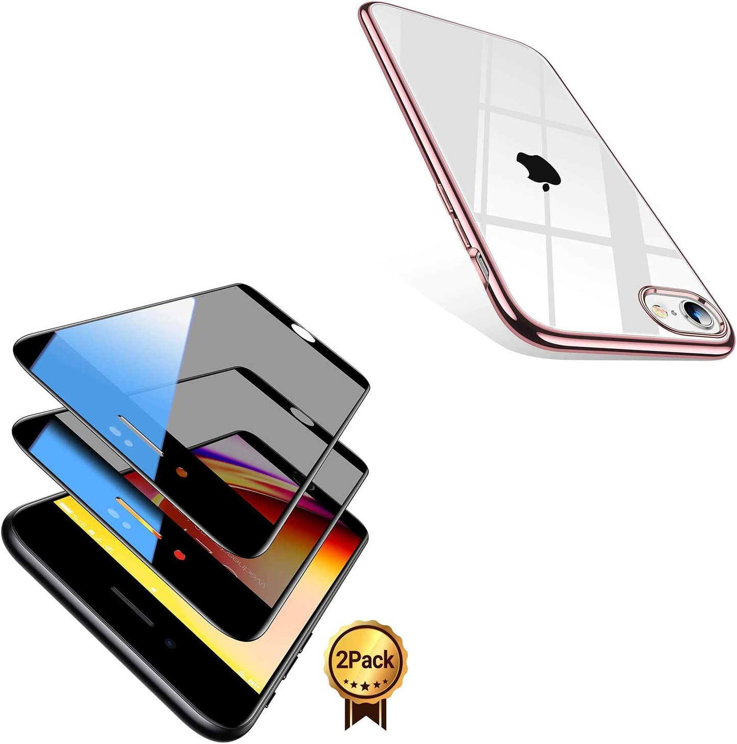 TORRAS Crystal Clear Compatible with iPhone SE 2020 Case & TORRAS Black Diamond Compatible with iPhone SE 2020 Privacy Screen Protector