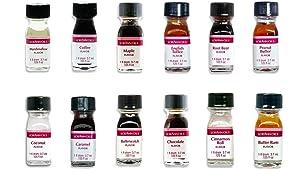 Tasty Living Variety of LorAnn Oils Food Flavoring - 12 Savory Flavors, 1 Fl Dram (3.7 ml. - .125 fl. Oz.) each