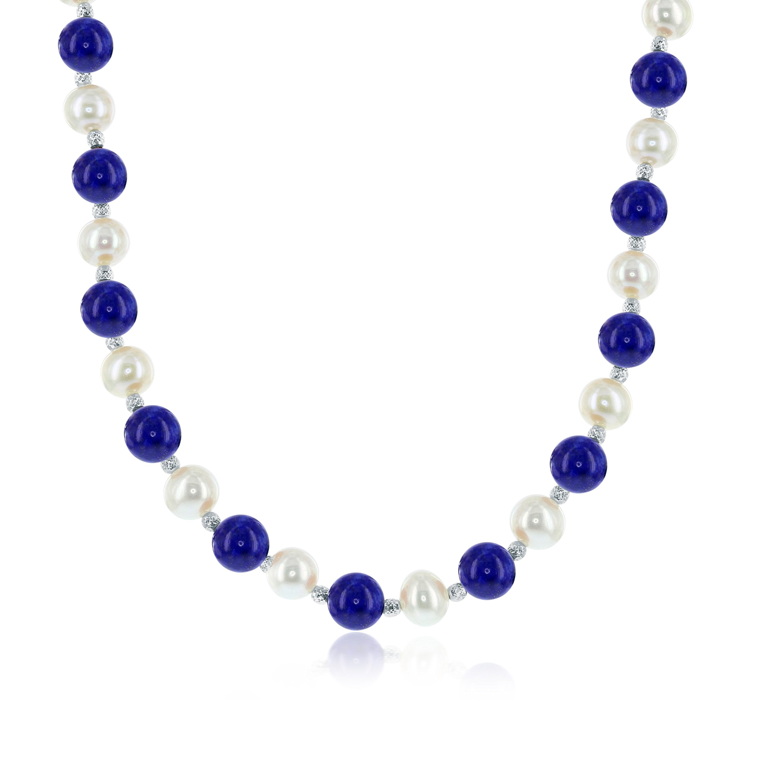 Sterling Silver 18'' + 2'' Freshwater Pearl & Lapis Necklace