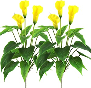 Artificial Flower 17 inches Calla Lily Silk Plant Fake Bonsai Flowers Greenery Plants for Indoor Outdoor Home Office Bedroom Table Centerpieces Party Decoration 2 Pack (Yellow, 2)