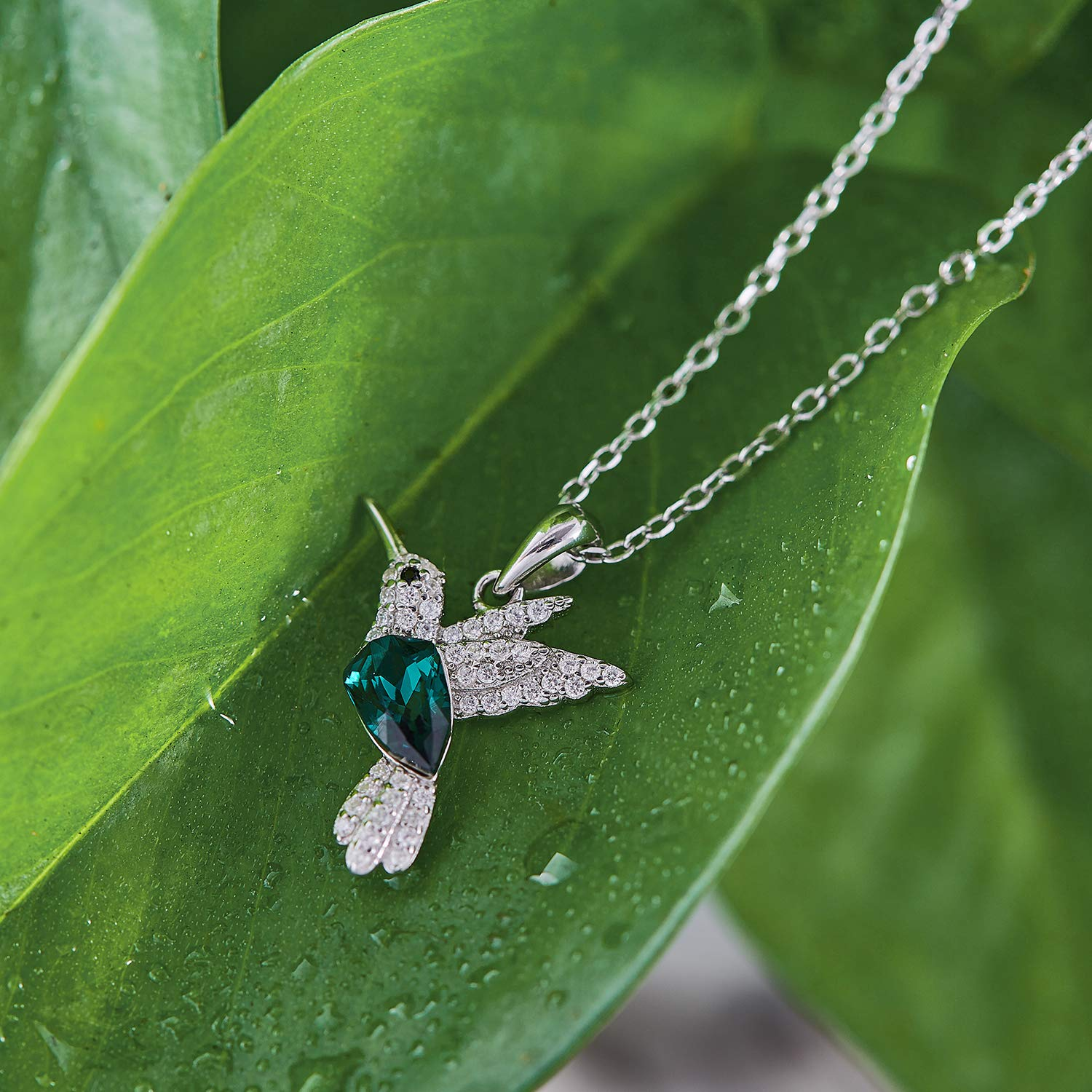 CDE S925 Sterling Silver Necklace Woman Swarovski Crystals Pendant Necklaces Hummingbird Fine Jewelry Gift for Her by CDE (Image #3)