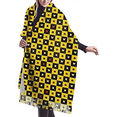 Tarjeta amarilla negra Tablero de ajedrez Bufanda con flecos de ...