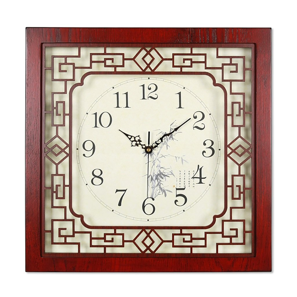 SESO UK- Design Square Vintage Retro Wanduhr Holz Wohnzimmer Hanging Quartz Uhren (größe : 44cm)