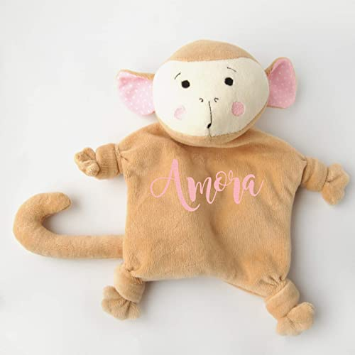 2dc93b22366 Amazon.com  Baby Girl Lovey Personalized Monkey Gift Baby Shower Security Blanket  Toy  Handmade