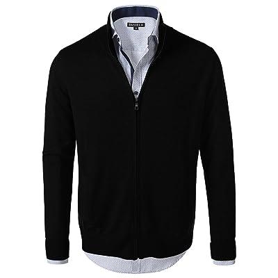 7 Encounter Men's Vintage Zipper Front Cardigan Sweater at Men's Clothing store