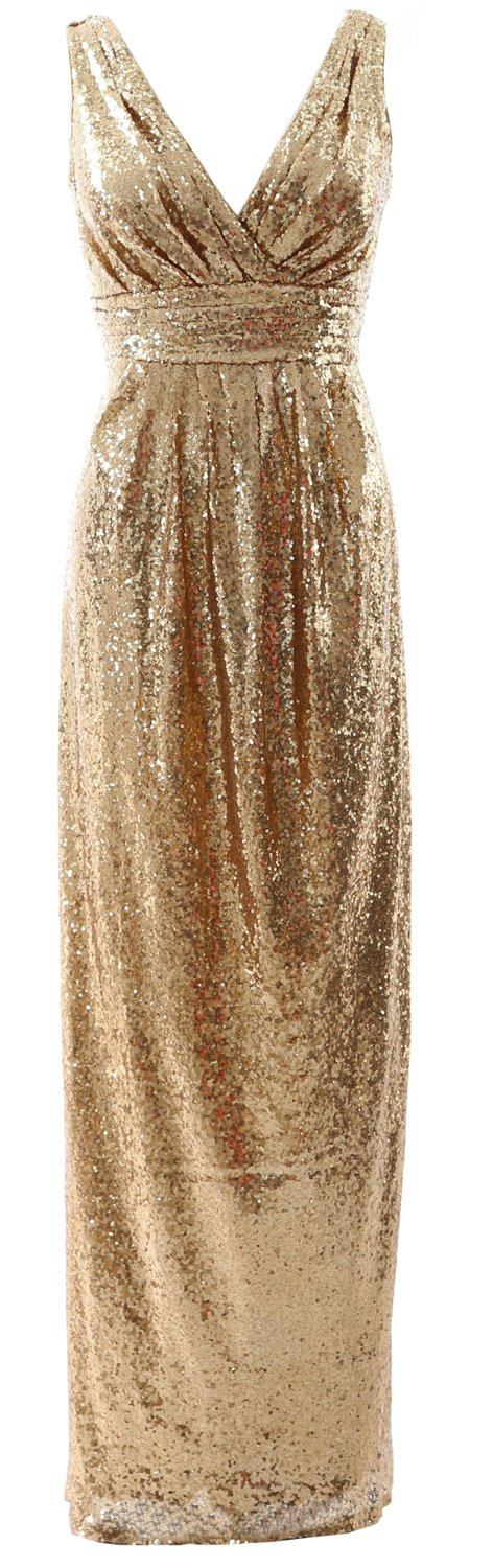 MACloth Gorgeous Long Bridesmaid Dress V Neck Sequin Wedding Party Formal Gown (26w, Gold) by MACloth