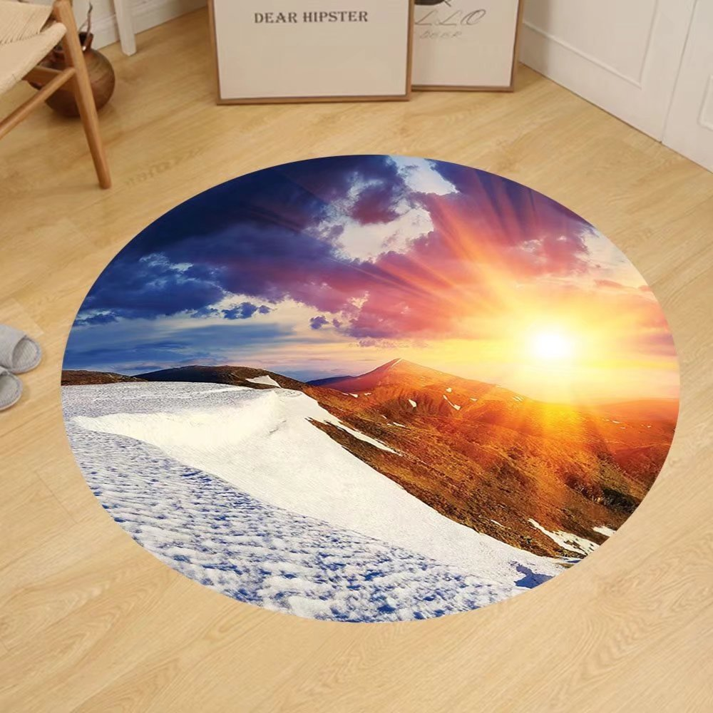 Gzhihine Custom round floor mat Dorm Room Boho Decor Sunshine Clouds Nature Mountain and Valley Sun Living Room Girls Decor Divider in College Dorm Landscape Home White Blue Yellow