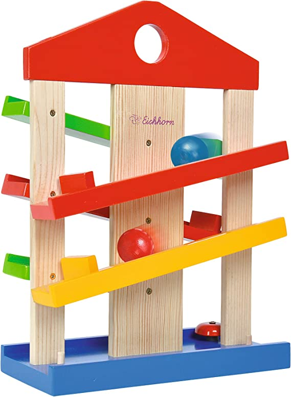 Eichhorn 100002025 Marble Run Game For Kids Fun Coloured Wooden Toys With 3 Marbles Fun Bell For Ages 1 Multicolour Amazon Co Uk Toys Games