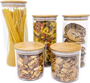 5 PC Airtight Glass Food Storage Jars Set Canister Kitchen Container With Natural Bamboo Lids For Nuts, Pasta, Flour, Sugar, Rice, Cookies, Candy