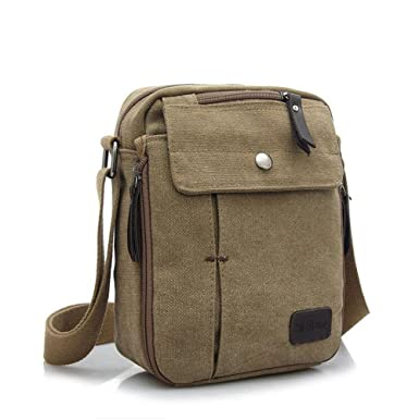 c80382863 Stepack Men Canvas Messenger Bags Simple Crossbody Shoulder Bags Travel Bag  (Khaki)
