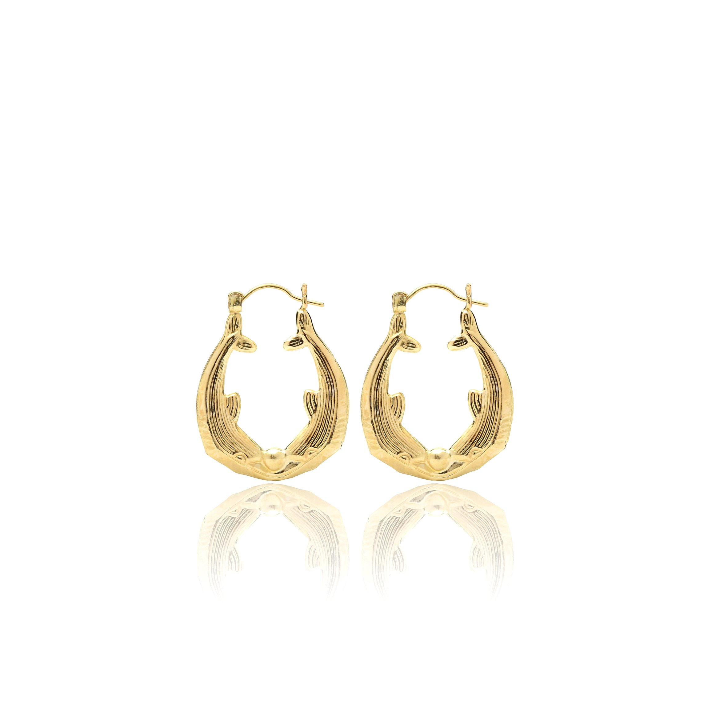 10k Yellow Gold Friendship Love Hoop Earrings with Kiss Dolphin Design for Women & Girls, Medium