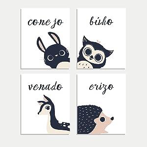 Peeking Animal Collection in Spanish,Children's Wall Art, Set of Four 8x10 Prints, Forest Nursery, Gender Neutral Nursery, Rabbit, Deer, Hedgehog, Animal's Decoration, Kids Room, Baby Room Decor, Cute