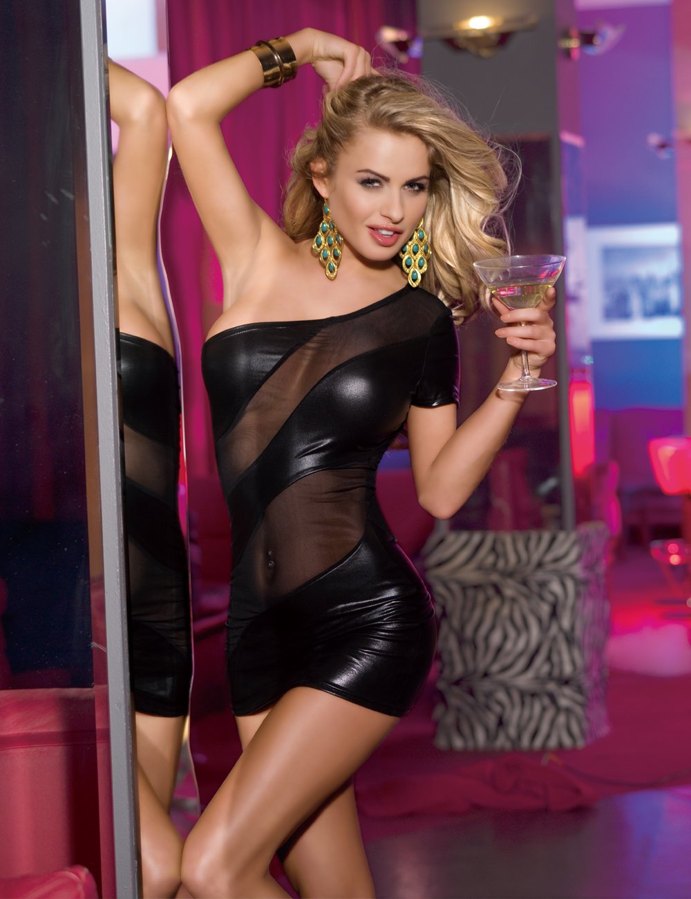 XSPICE Sexy Club Wear Dress Faux Leather Bodycon Wet Look One Shoulder Lingerie