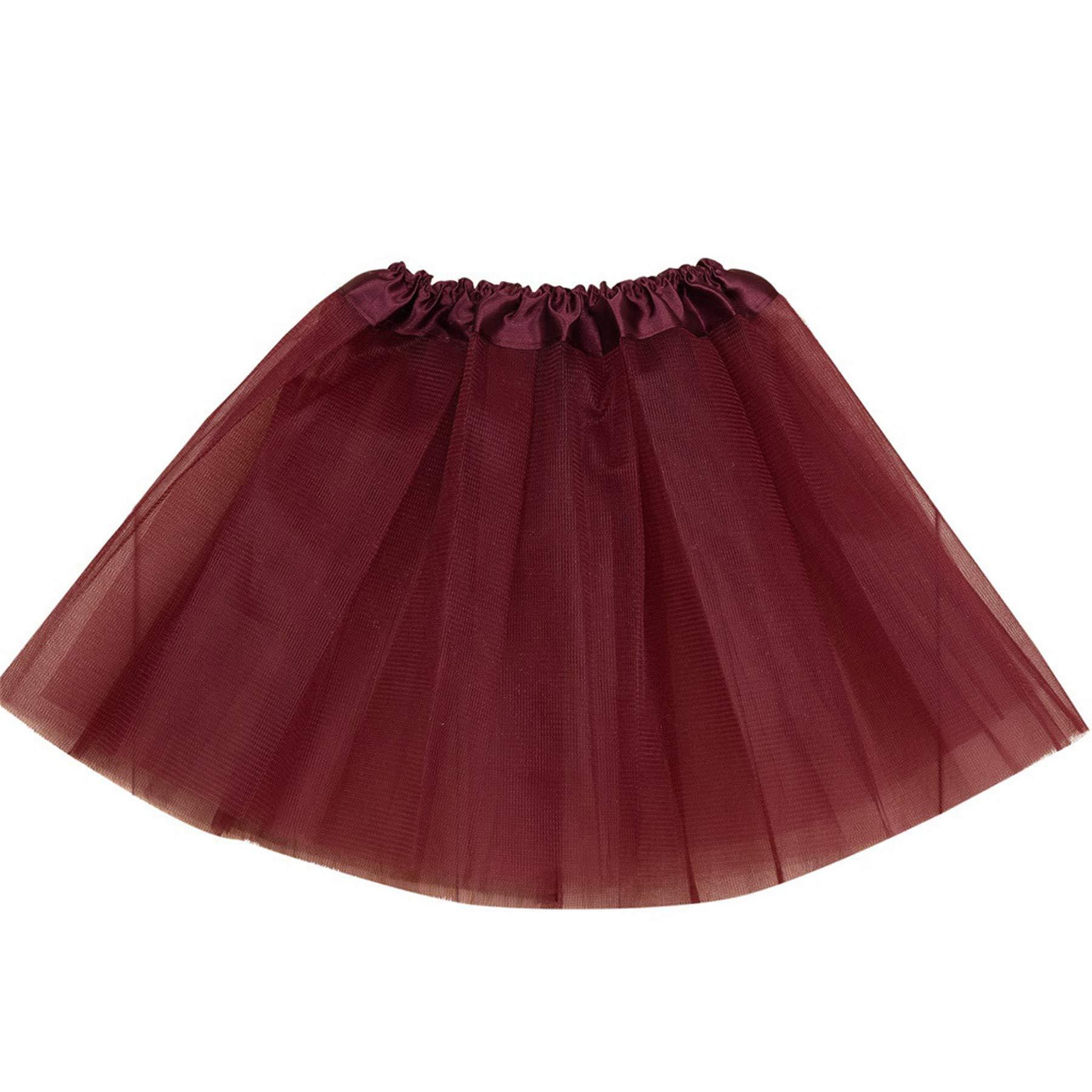 Summer Baby Girls Ballet Dance Skirt Tutu Tulle Princess Skirt Solid Elastic Waistband Party Pageant Pettiskirt Costume (Wine, 2-8 T) by pengchengxinmiao-Girls Skirt (Image #1)